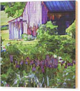 Barn In The Hollow Wood Print by Suni Roveto