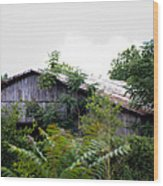 Barn In The Storm Wood Print