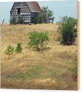 Barn On A Hill Wood Print