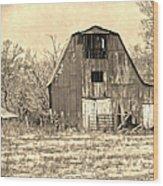Barn-sepia Wood Print