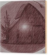 Barn Snow Globe Wood Print
