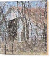 Barn Through Trees Wood Print