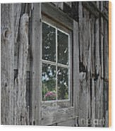 Barn Window Reflection Wood Print