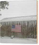 Barn With American Flag During Blizzard Of '05 On Cape Cod Wood Print