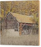 Barn With Autumn Leaves Wood Print