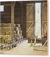 Barn With Hay Bales And Farm Equipment Wood Print