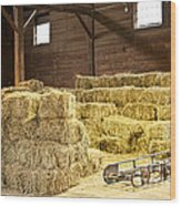 Barn With Hay Bales Wood Print