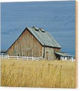 Barn With Stormy Skies Wood Print