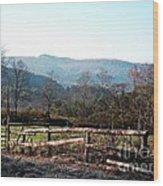 Barnyard In The Morning Wood Print