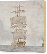 Barque And Tug Wood Print