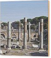 Base Of Trajan's Column And The Basilica Ulpia. Rome Wood Print by Bernard Jaubert
