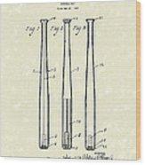 Baseball Bat 1924 Patent Art Wood Print by Prior Art Design