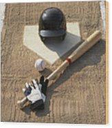 Baseball, Bat, Batting Gloves And Baseball Helmet At Home Plate Wood Print by Thomas Northcut
