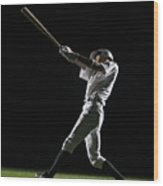 Baseball Batter Swinging Bat, Side View Wood Print by PM Images