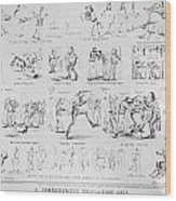 Baseball Cartoons, 1859 Wood Print