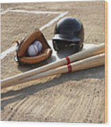 Baseball Glove, Balls, Bats And Baseball Helmet At Home Plate Wood Print