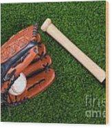 Baseball Glove Bat And Ball On Grass Wood Print by Richard Thomas