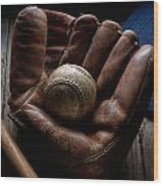 Baseball Glove Wood Print by Bob Nardi