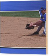 Baseball Hot Grounder Wood Print