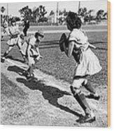 Baseball, Kenosha Comets Play Wood Print by Everett