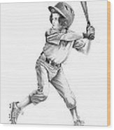 Baseball Kid Wood Print