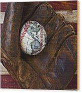 Baseball Mitt With Earth Baseball Wood Print