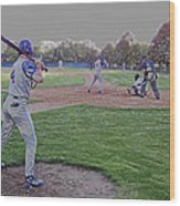 Baseball On Deck Digital Art Wood Print