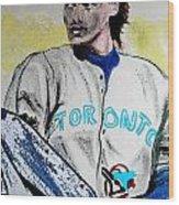 Baseball Player Wood Print by First Star Art