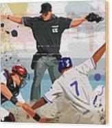 Baseball Player Safe At Home Plate Wood Print by Greg Paprocki
