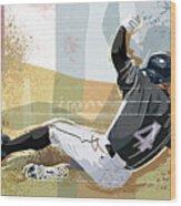 Baseball Player Sliding Into Base Wood Print