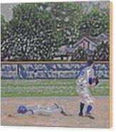 Baseball Playing Hard Digital Art Wood Print