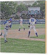 Baseball Runner Heading Home Digital Art Wood Print