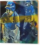 Baseball Stances  Wood Print by James Thomas