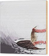 Baseball Wood Print by Tilly Williams