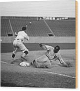 Baseball. Ty Cobb Safe At Third Wood Print