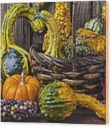 Basket Full Of Gourds Wood Print