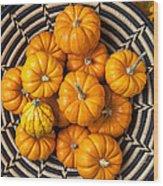 Basket Full Of Small Pumpkins Wood Print