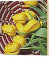 Basket Full Of Tulips Wood Print