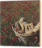 Basket Of Bread In A Poppy Field Wood Print