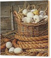 Basket Of Eggs On Straw Wood Print