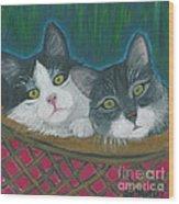 Basket Of Kitties Wood Print