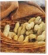 Basket Of Peanuts Wood Print
