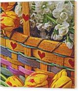 Basket Of Spring Flowers Wood Print