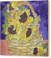 Basket Of Sunflowers Wood Print
