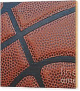 Basketball - Leather Close Up Wood Print