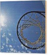 Basketball Hoop And The Sun Wood Print