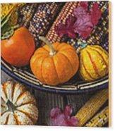 Basketful Of Autumn Wood Print