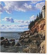 Bass Harbor Head Seascape Wood Print