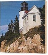Bass Harbor Light Acadia National Park Maine Wood Print