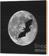Bat Moon Wood Print